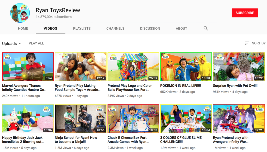 Ryan ToysReview's YouTube channel. Click here to watch more of his videos.