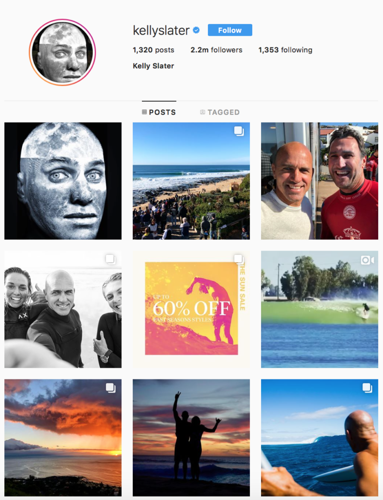 Kelly Slater's Instagram page. Click here to check out more of this surfing influencer's photos.