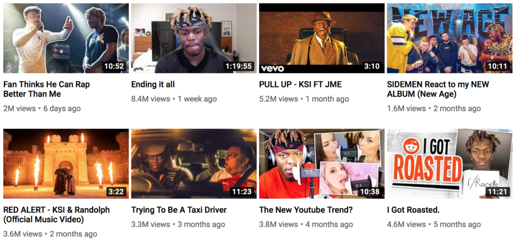 British YouTuber KSI's Channel