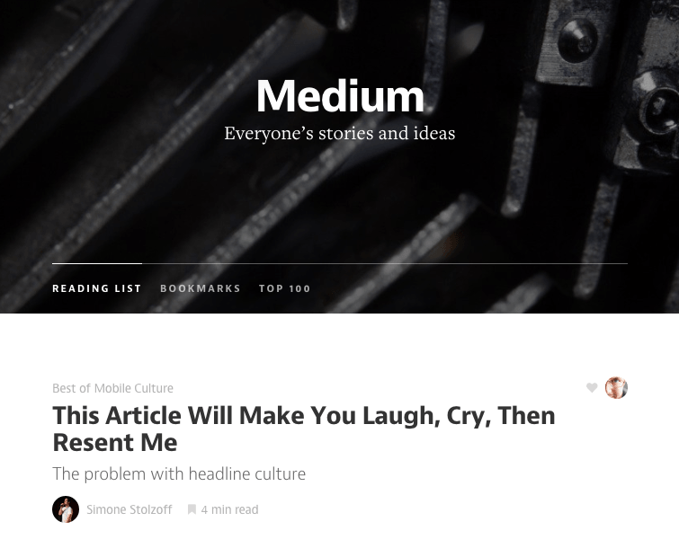 Medium's web page. Click here to be redirected to their site.