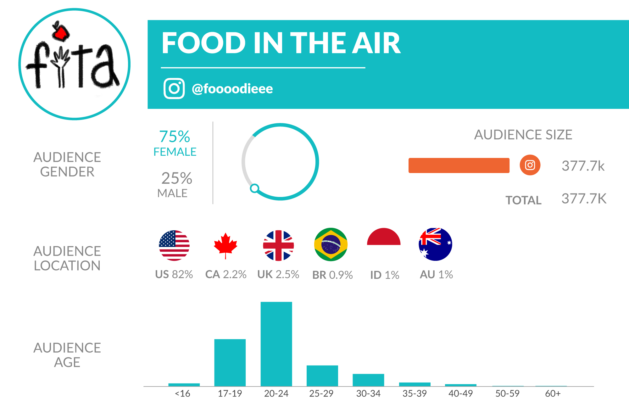 food in the air influencer data card