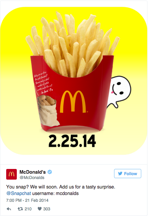 McDonalds announces their Snapchat debut on Twitter