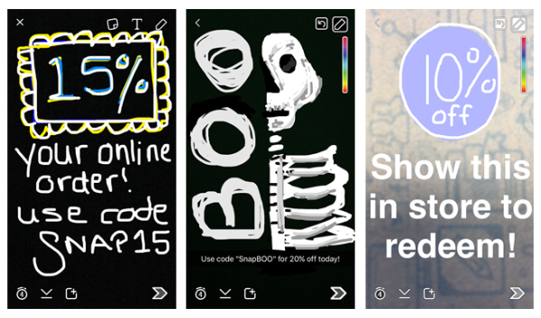 Promo codes used by businesses via Snapchat
