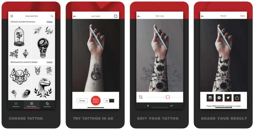 INKHUNTER new apps for AR try on tattoo experience